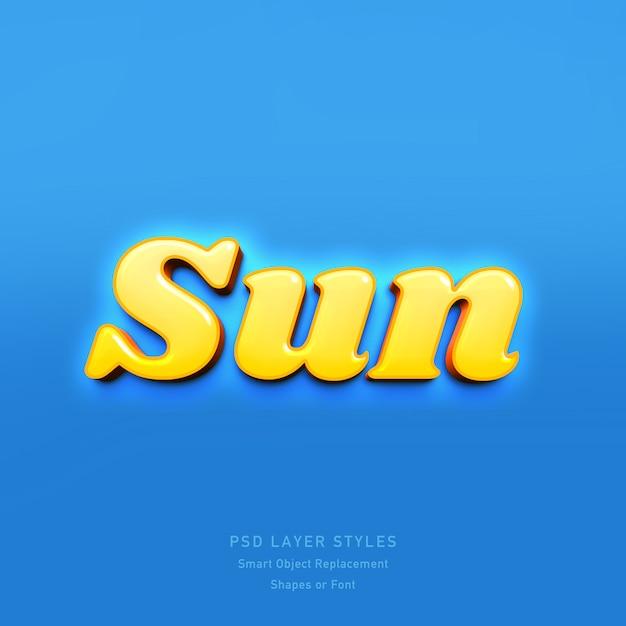 Sun 3d text style effect psd Premium Psd