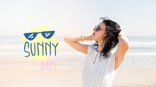 Sunny days girl on the beach mockup Free Psd