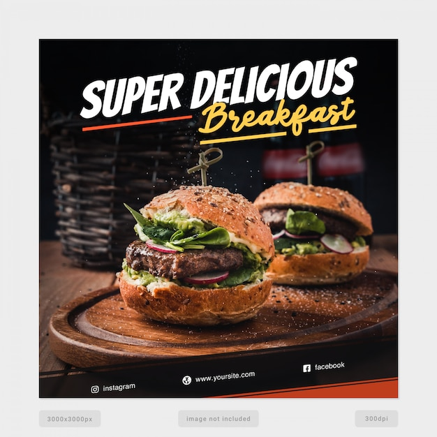 Super delicious breakfast social media banner template Premium Psd
