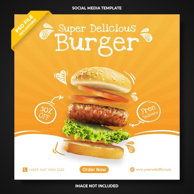 Super delicious burger promotion social media banner template Premium Psd