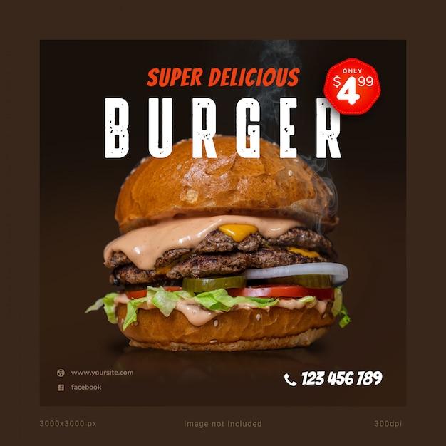 Шаблон баннера социальных сетей super delicious burger Premium Psd