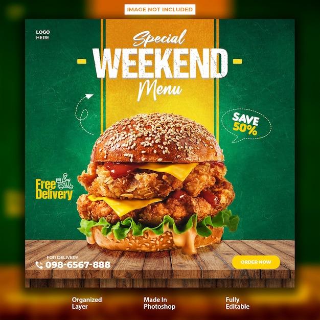 Super delicious food burger instagram post design template Premium Psd