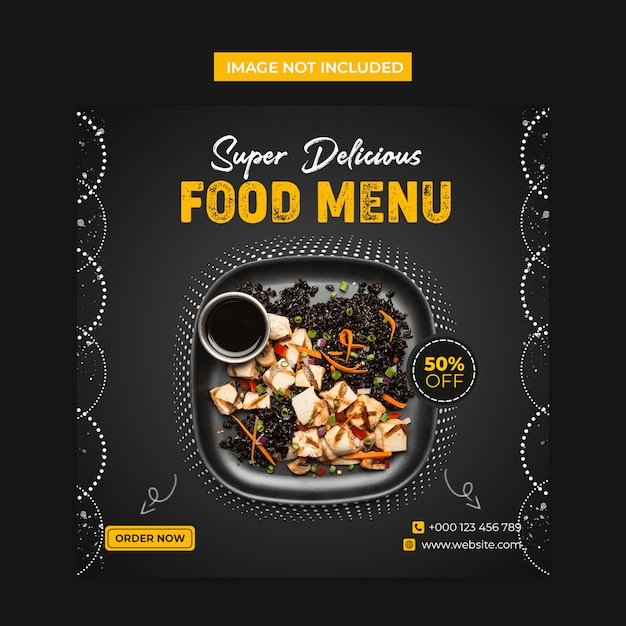 Super delicious food social media and instagram post template Premium Psd