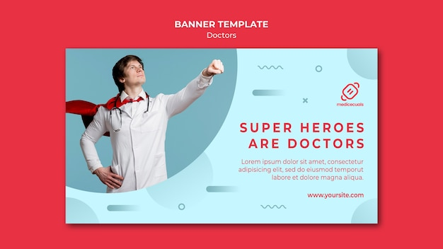 Super hero doctor and cape banner template Free Psd