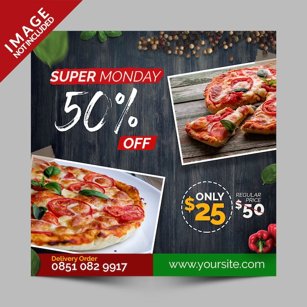 Super monday discount, square banner, flyer or instagram post for italian pizza restaurant Premium Psd