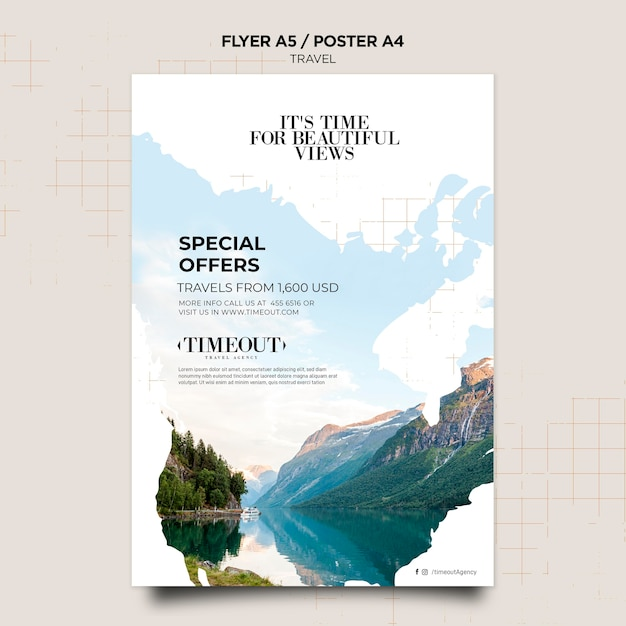 Super offers travel poster template Free Psd