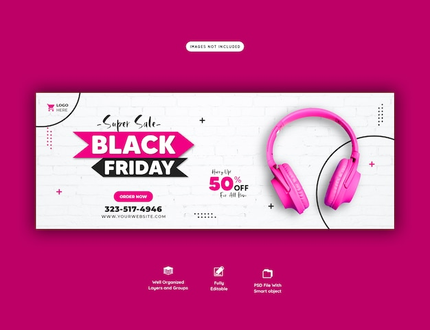 Super sale black friday facebook cover banner template Free Psd