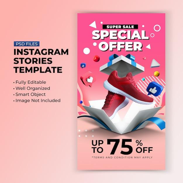 Super sale special offer promotion for instagram post stories design template