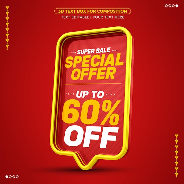 Super sale special offer red 3d text box with up to 60% discount Premium Psd