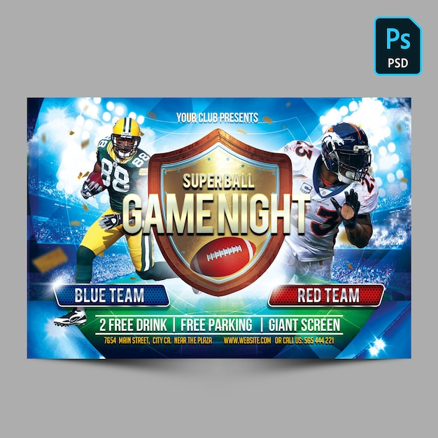 Superball Game Night Horizontal Flyer Template Psd File