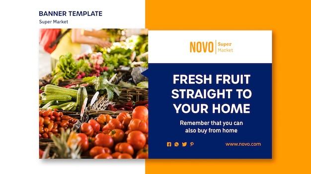 Шаблон баннера концепции супермаркета Premium Psd