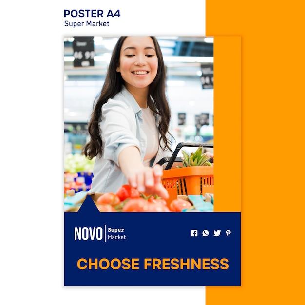 Шаблон плаката концепции супермаркета Бесплатные Psd