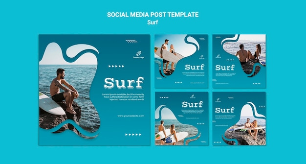 Surf and adventure social media post Free Psd