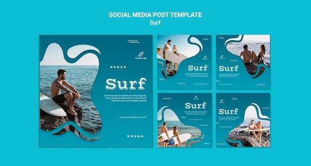 서핑 및 모험 소셜 미디어 게시물 무료 PSD 파일