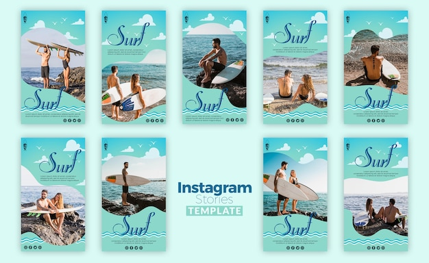 Surf concept instagram stories template Free Psd
