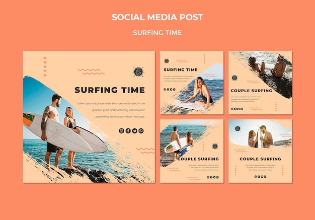 Surf concept social media post template Free Psd