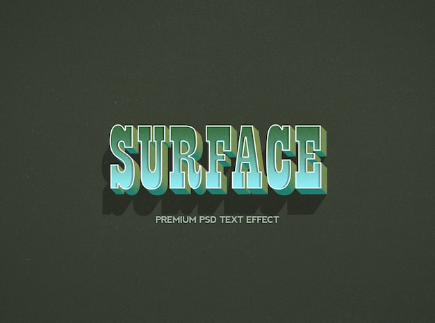 Surface text effect template Premium Psd