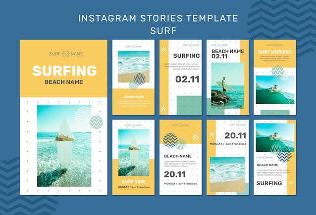 Surfing ad instagram stories template Free Psd