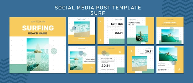 Surfing ad social media post template Free Psd