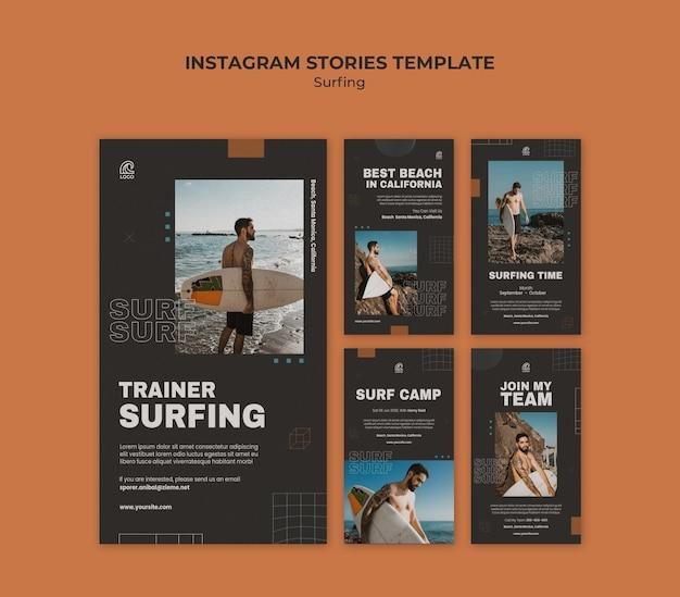 Surfing instagram stories template Premium Psd