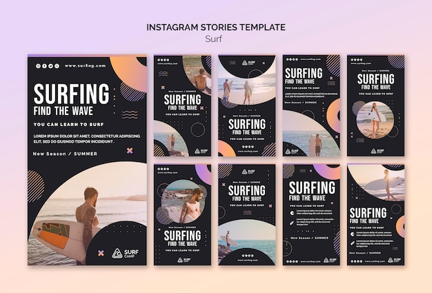 Surfing lessons social media stories Premium Psd