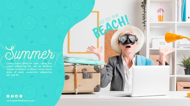 Surprised woman summer template Free Psd