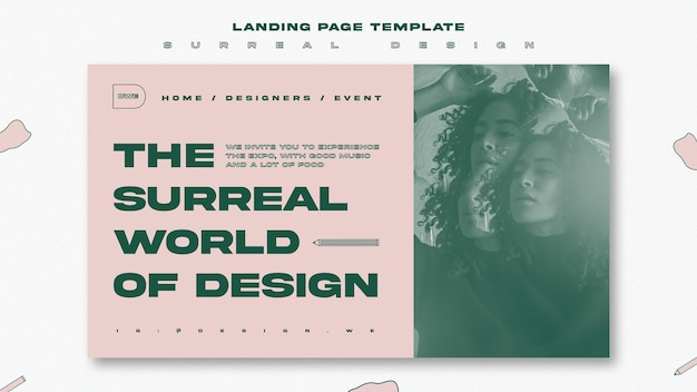 シュールなデザインイベントのランディングページテンプレート 無料 Psd