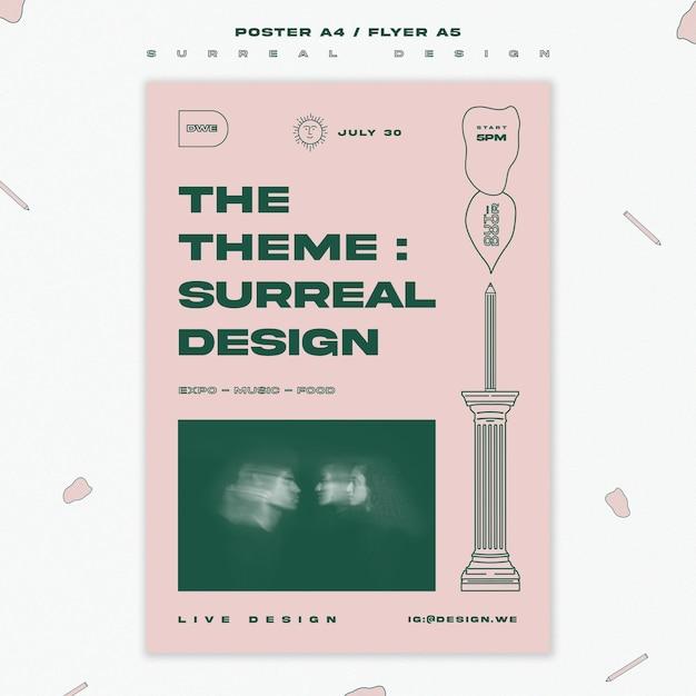 シュールなデザインのポスターテンプレート 無料 Psd