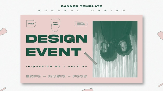 Surreal design poster template Free Psd