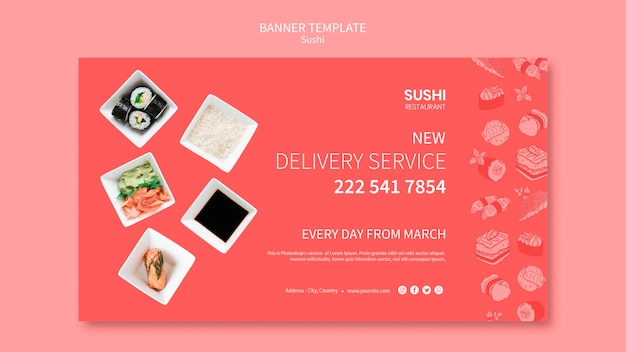 Sushibanner template concept Free Psd