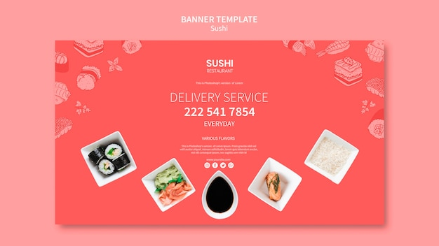 Sushi banner template Free Psd