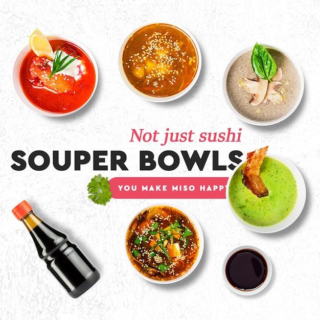 Sushi bar, restaurant social media post template Premium Psd