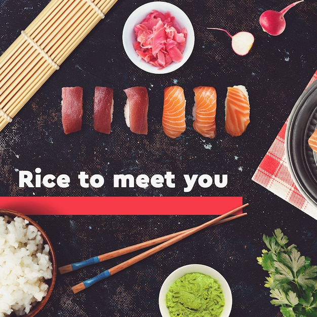 Sushi bar, restaurant social media post template Premium Psd