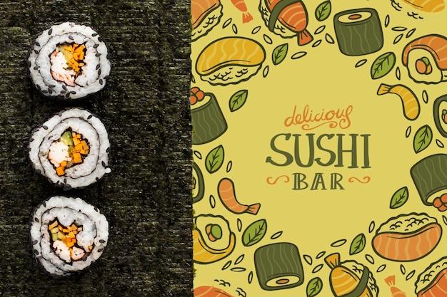 Суши-бар с макетом суши-меню Бесплатные Psd