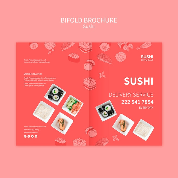 Sushi brochure template concept Free Psd