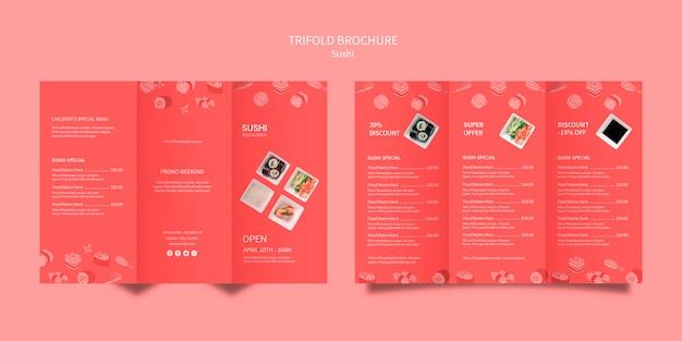 Sushi brochure template design Free Psd