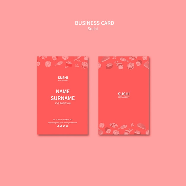 Sushi business card template concept Free Psd