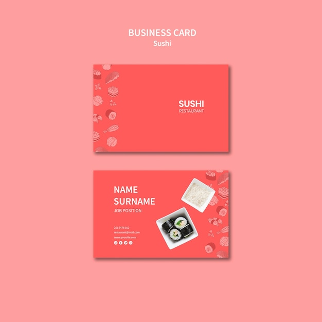 Sushi business card template Free Psd