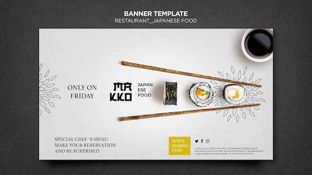 Sushi and chopsticks banner web template Free Psd