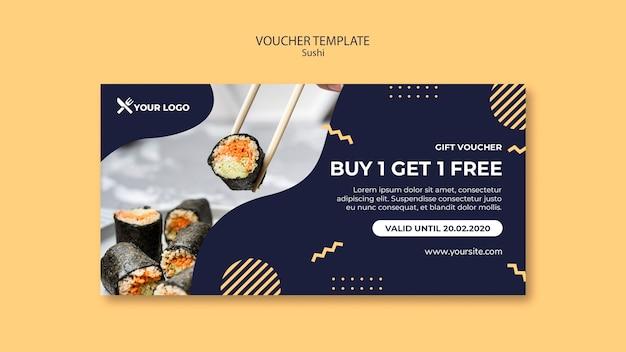 Sushi concept voucher template Free Psd