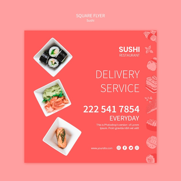 Sushi flyer template concept Free Psd