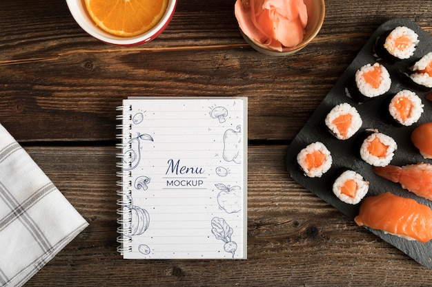 Sushi food menu concept mock-up Free Psd