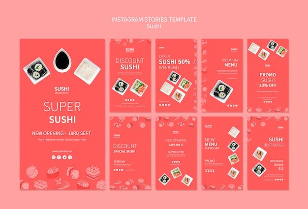 Sushi instagram stories template Free Psd