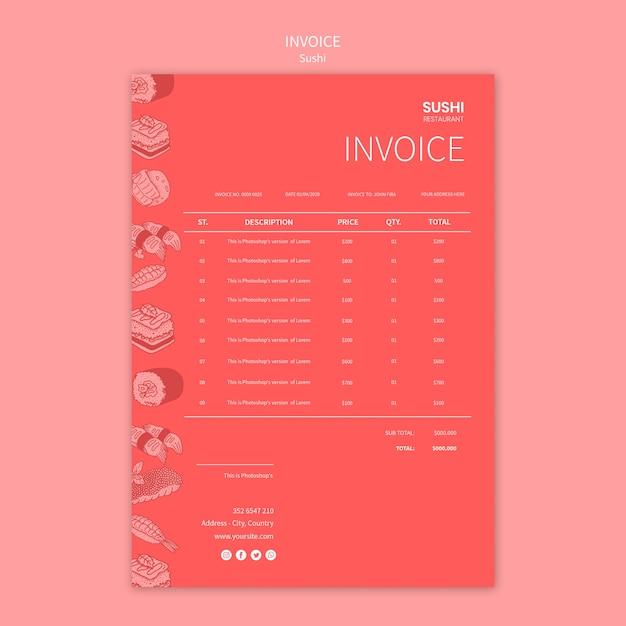 Sushi invoice template Free Psd