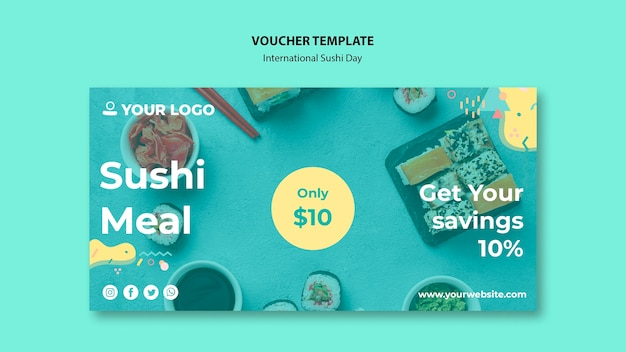 Sushi meal time voucher template Free Psd