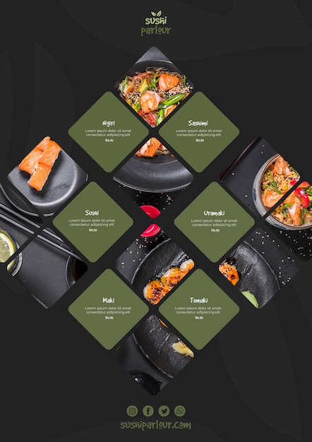 Sushi menu template for japanese restaurant Free Psd