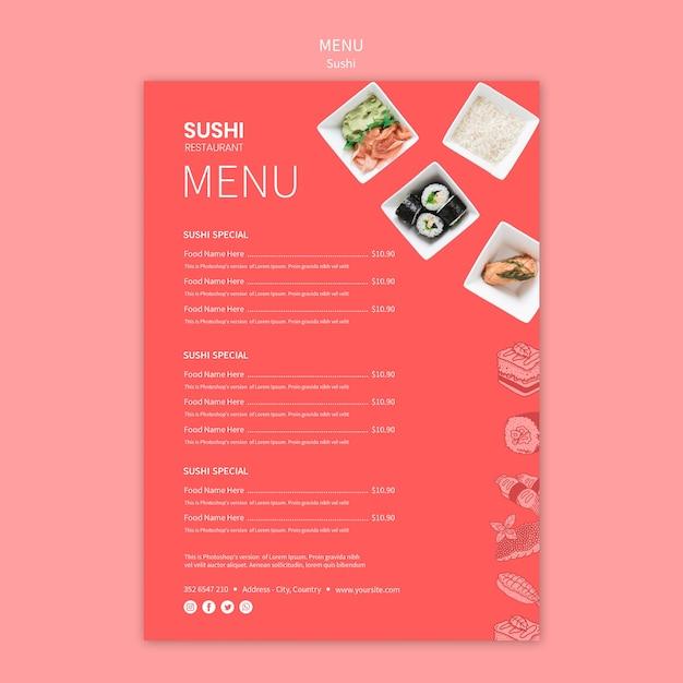 Sushi menu template Free Psd