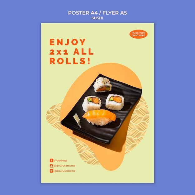 寿司ポスターテンプレートコンセプト 無料 Psd