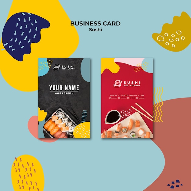 Sushi restaurant business card pack Free Psd