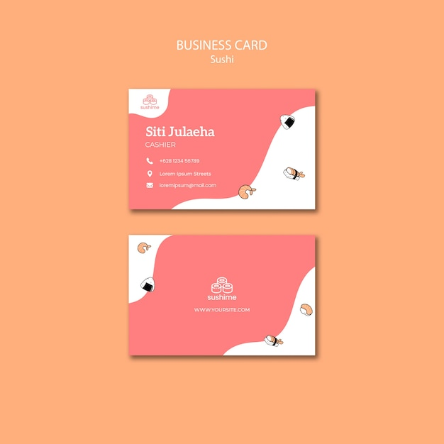 Sushi restaurant business card template Free Psd